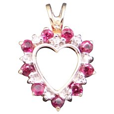 Adorable 14k Yellow Gold .27ct Round Ruby Diamond Heart Love Cluster Pendant