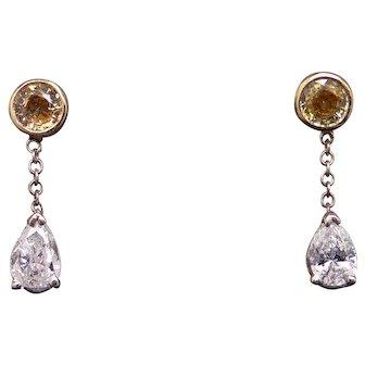 Fantastic 14k Yellow Gold 1ct Round Yellow Sapphire Pear Shaped Diamond Dangle Earrings