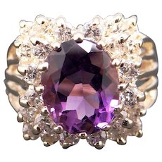 Fantastic 14k Yellow Gold 2.85ct Oval Cut Amethyst Diamond Halo Cluster Ring Size 7