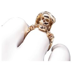 Unique Mens 14k Yellow Gold Joker Pirate Death Skull Gothic Reaper Band Ring Size 10.5