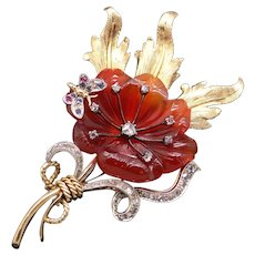 Fabulous 18k Yellow Gold Carved Carnelian Rose Cut Diamond Flower Butterfly Brooch Pin