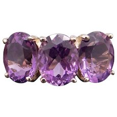 Adorable 10k Yellow Gold 6ct Oval Cut Amethyst Cluster Three Stone Band Ring Size 6
