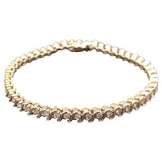 Classic 14k Yellow Gold 2ct Round Brilliant Cut Diamond Tennis Link Bracelet 7 inch