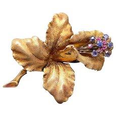 Retro Era 18k Yellow Gold 0.45ct Round Cut Ruby Sapphire Orchid Flower Brooch Pin