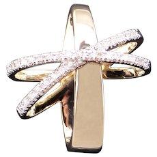 Fantastic 14k Yellow Gold .30ct Round Cut Diamond Cross Halo Love Omega Slide Pendant