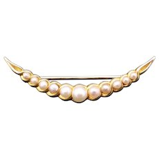 Art Deco 14k Yellow Gold Fine Quality White Cultured Pearl Bow Bar Brooch Pin Half Moon