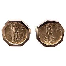 1987 $5 Dollar American Eagle Gold Coin Cufflinks Cuff Dress Shirt Studs