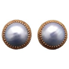 Retro 14k Yellow Gold Round Grey Gray 21mm Mabe Cultured Pearl Stud Earrings Non Pierced