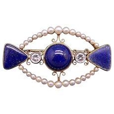 Art Deco Era Vintage 14k Yellow Gold Round Diamond White Cultured Pearls Blue Lapis Bar Pin