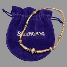 Fabulous SeidenGang 18k Yellow Gold .75ct Round Cut Diamond Channel Set Wave Swirl Laurel Ornate Necklace SG