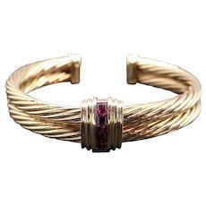David Yurman 18k Yellow Gold Rhodolite Garnet Classic Cable Cuff Bangle Bracelet