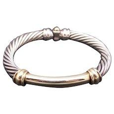 David Yurman Sterling Silver 14k Yellow Gold 7mm Cable Cuff Bangle Bracelet