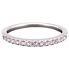 14k White Gold .26ct Round Cut Diamond 2mm Wedding Band Stack Ring Size 8.25