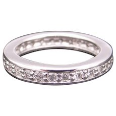 Classic Platinum 1ct Round Cut Diamond 3mm Eternity Wedding Band Stack Ring Size 5