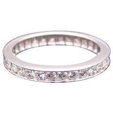 Classic Platinum 1ct Round Cut Diamond 2.5mm Eternity Wedding Band Stack Ring Size 5