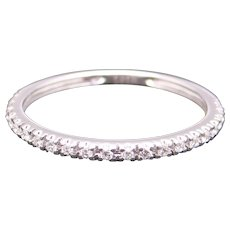 14k White Gold .21ct Round Cut Diamond 2mm Wedding Band Stack Ring Size 7.25