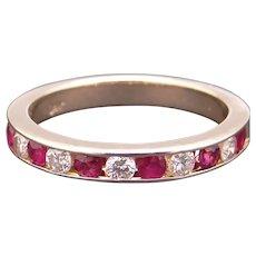14k Yellow Gold .55ct Round Ruby Diamond 3mm Channel Wedding Anniversary Band Size 7