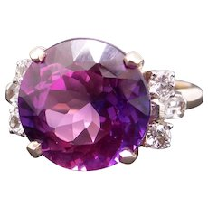 Stunning 14k Yellow Gold 7.30ct Round Brilliant Synthetic Alexandrite Diamond Ring Size 5.5