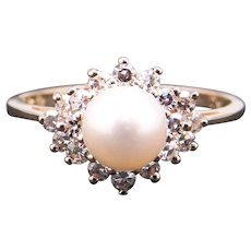 Adorable 14k Yellow Gold 6mm Cultured Pearl .30ct Round Diamond Cluster Halo Ring Size 6.75
