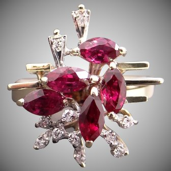 Incredible 14k Yellow Gold 1.11ct Marquise Ruby Diamond Cluster Spray Band Ring Size 5.75