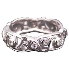 Deco Era 14k White Gold .50ct Round Cut Diamond 6.5mm Eternity Flower Wedding Band Ring Size 6.5