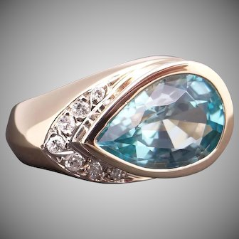 Fantastic 14k Yellow Gold 4.64ct Pear Shape Blue Topaz Diamond Cluster Band Ring Size 5