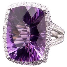 Fabulous 14k White Gold 12ct Cushion Cut Amethyst Diamond Cluster Halo Ring Size 7.5
