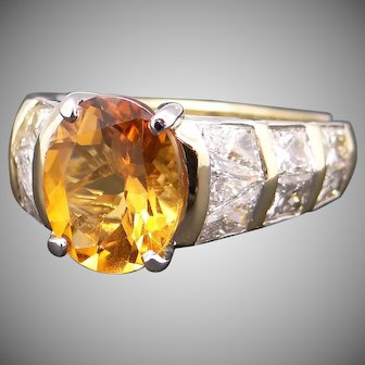 Spectacular 18k Yellow Gold 4.50ct Oval Cut Citrine Diamond Engagement Promise Ring Size 7.5