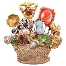 Vintage Ornate 14k Yellow Gold Multi Gemstone Diamond 13 Stick Pin Basket Brooch Pin