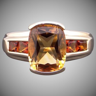 Adorable 14k Yellow Gold 2.49ct Cushion Cut Citrine Band Ring Size 6.5