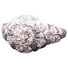 Art Deco Platinum 1.51ct Round European Cut Diamond Filigree Dome Engagement Anniversary Wedding Promise Ring Size 7