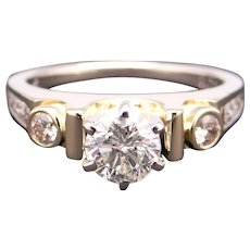 Dazzling 14k Yellow White Gold 1.20ct Round Brilliant Cut Diamond Engagement Promise Ring Size 8