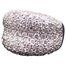Outstanding 14k White Gold 3.50ct Round Cut Diamond Pave Cluster Dome Band Ring Size 8