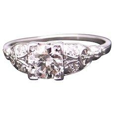 Art Deco 18k White Gold .73ct Round European Diamond Engagement Promise Ring Size 7.75