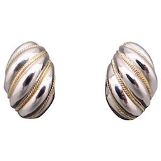 Tiffany & Co Silver 18k Yellow Gold Shrimp Shell Button Stud Earrings With Omega Backs