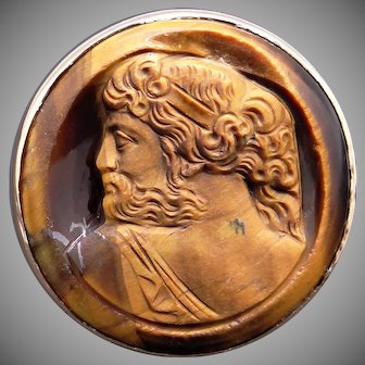 10k Yellow Gold Carved Tiger Eye Stone Cameo Soldier Cigar Band Ring Size 7