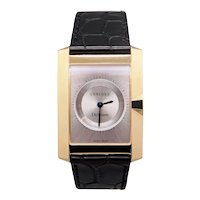 Mens 18kt Yellow Gold Concord Delirium Battery Rectangular Dress Watch With Box Papers