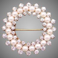 Victorian 14k Yellow Gold 1.40ct Round European Cut Diamond Pearl Circle Endless Love Pin Enhancer