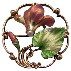 Gorgeous Art Nouveau Multi Color Enamel 14k Yellow Gold Pearl Leaf Flower Brooch Pin Pendant
