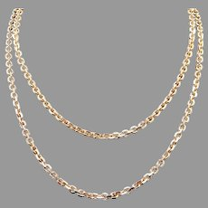 Solid 14k Yellow Gold Fancy Oval Link Chain Rope Cable Necklace 30 inch Unisex Men Women