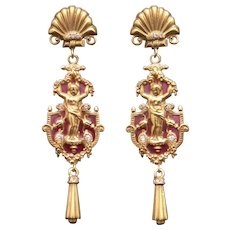 Exceptional Art Nouveau 18k Gold Plique-à-jour Enamel Diamond Dangle Chandelier Earrings