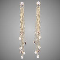 Fantastic 14k Yellow Gold 2ct Round Cut Cubic Zirconia CZ Bezel Dangle Drop Chandelier Earrings By The Yard Cable Chain