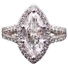 Breathtaking Vintage GIA 18k White Gold 2.38ct Marquise Diamond Halo Engagement Promise Anniversary Ring D VS2 Size 6.5
