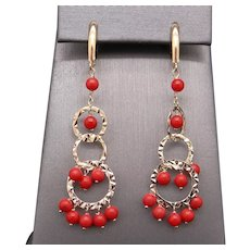 Spectacular 14k Yellow Gold Coral Bead Dangle Drop Circle Chandelier Earrings With Lever Backs