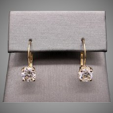 Magnificent 14k Gold Solitaire Stud 2ct Round Brilliant Cut Diamond Drop Ornate Flower Setting With Lever Backs Earrings