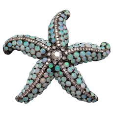 Magnificent Art Deco Silver 14k Yellow Gold 4ct Diamond Multi Color Opal Starfish Brooch Pin