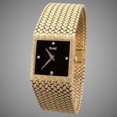 Mens Piaget Solid 18k Yellow Gold Square Mesh Bracelet 18 Jewel 9P2 Watch 934D4 Black Onyx Diamond Dial 7.75 inches long