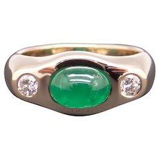 Stunning 14k Yellow Gold 1.70ct Cabochon Cut Emerald Diamond Three Stone Band Ring Size 6.5 Unisex