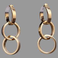 Tiffany & Co Paloma Picasso 18k Yellow Gold Triple Hoop Dangle Drop Earrings