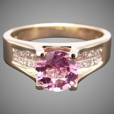 Fantastic 18k Yellow Gold 1.60ct Round Cut Cut Pink Spinel Diamond Promise Engagement Love Statement Ring Size 7